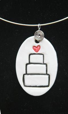 Ceramic Jewelry  Wedding Cake Ceramic Pendant by kimjustice, $25.00
