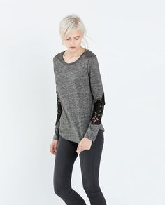 Image 2 of LACE SLEEVE LINEN T-SHIRT from Zara