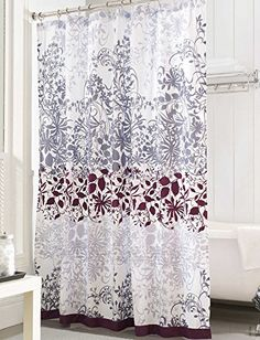 Picture Gallery For Website Uphome X Inch Purple and Grey Floral Scroll Shower Curtain with Enchanted PatternsWhite Heavyduty