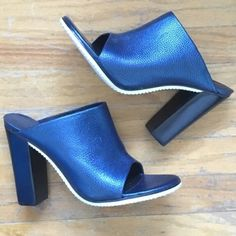 """Tibi Blue """"Bee"""" Leather Mules Sold out on ShopBop. Great condition worn once! SIZE 40 (best fit 9-9.5) please know your European size. 4 inch heel. Please ask questions no trade or offline transactions! Tibi Shoes Mules & Clogs"""