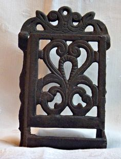 Vintage CAST IRON Matchbox Holder Kitchen by EauPleineVintage