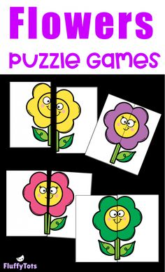 Flowers Puzzle Games : FREE 8 Super Simple Puzzles for Your Toddlers and Preschoolers - FluffyTots April Preschool, Preschool Colors, Free Preschool, Toddler Preschool, Toddler Activities, Preschool Activities, Toddlers And Preschoolers, Puzzles For Toddlers, Matching Games For Toddlers