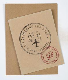 Passport Wedding Stamp - Personalized Destination Wedding Stamp. $22.00, via Etsy.