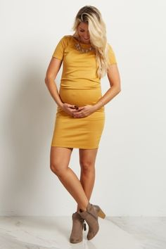 Yellow Short Sleeve Fitted Maternity Dress