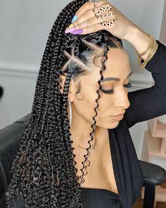 Box Braids Hairstyles For Black Women, Twist Braid Hairstyles, Braids For Black Hair, Girl Hairstyles, African Hairstyles, Black Hairstyles, Braids With Curls, Girls Braids, Triangle Braids