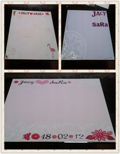 For my Beach Wedding, as it was very personal with only 50 guests, I made Scrapbook pages with My husband's & my name + our wedding date for each table for the Guests to sign on at the dinner party instead of the Boring Old Guest Book. :o)