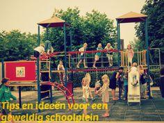 Tips en ideeën voor een geweldig schoolplein van Juf Lisanne. Groen schoolplein, creatief schoolplein, buiten spelen, uitdaging, tegels verven, etc.