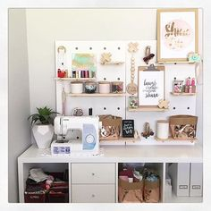 So in love with the Kmart by Claire Farac . I can also spot some other goodies from Kmart like wooden crosses, white pot/plant and shine on print. Details on other wonderful it Ikea Pegboard, Painted Pegboard, Pegboard Display, Kmart Desk, Kmart Home, Sewing Desk, Sewing Rooms, Craft Organisation, Decoration Ikea