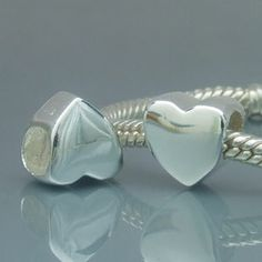Shiny Love Heart 925 Sterling Silver Bead  Fits Chamilia Charm