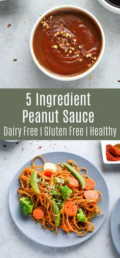 This 5 ingredient peanut sauce recipe is creamy spicy and delicious! It only takes a few minutes to make and it's perfect on everything from stir fry to salad! Try this vegan sauce for your next weeknight dinner! Vegetarian Dinners, Vegetarian Recipes, Cooking Recipes, Healthy Recipes, Vegan Meals, Cheap Recipes, Side Recipes, Dinner Recipes, Family Recipes
