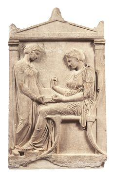 """Grave stele of Hegeso, c. 410 B.C.E., marble and paint, from the Dipylon Cemetary, Athens, 5' 2"""" National Archaeological Museum, Athens"""