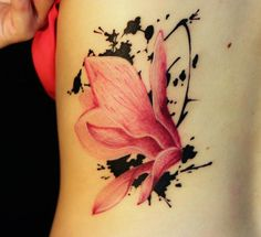 Side Rib Magnolia Flower Tattoo