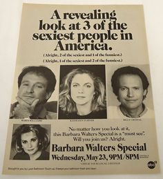 1990 ABC tv ad page Robin Williams, Madame Doubtfire, Kathleen Turner, Barbara Walters, Mork & Mindy, Captain My Captain, Dead Poets Society, Stand Up Comedians, Tv Ads