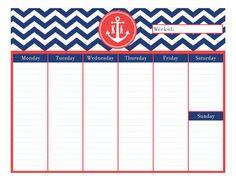 Preppy Anchor #Calendar Pad