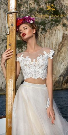 victoria soprano 2017 bridal cap sleeves illusion jewel neck heavily embellished bodice crop top 2 piece romantic a line wedding dress sheer lace back chapel train mv zv -- Victoria Soprano 2017 Wedding Dresses 2 Piece Wedding Dress, Sheer Wedding Dress, Wedding Skirt, Top Wedding Dresses, Stunning Wedding Dresses, Affordable Wedding Dresses, Designer Wedding Dresses, Wedding Gowns, 2017 Wedding
