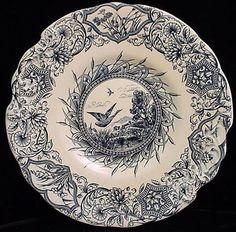 Aesthetic Blue Transferware Cake Plate ~ Geese 1883 from aesthetictransferware on Ruby Lane