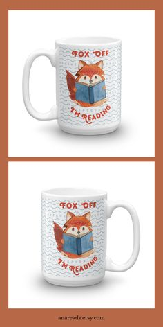 FOX OFF I'M READING. Adopt Suzy the Reading Fox into your home and let her be your coffee or tea companion in the mornings. She will even help you keep those pesky people away so you can enjoy your quiet reading time. Coffee Drinks, Coffee Cups, Fox Illustration, Reading Time, Tea Mugs, Suzy, Mornings, Book Lovers, Cocoa