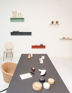 The office with the Trion table designed by Shane Schneck and Brackets Included shelves by Sylvain Willenz plus Lens Box by Thomas Jenkins for Wrong for Hay