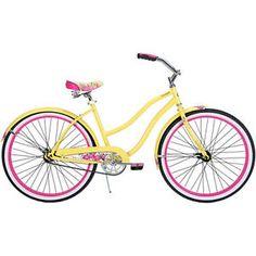 """Womens Beach Cruiser Bike 26"""" Yellow and Pink Huffy Cranbrook"""