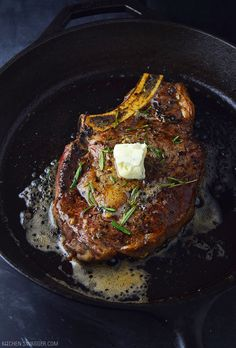 Pan-seared ribeye steak with blue cheese butter recipe. Ribeye seared in a cast iron skillet and topped with a blue cheese compound butter. Steak Recipes Pan, Grilling Recipes, Meat Recipes, Cooking Recipes, Grilled Steak Recipes, Game Recipes, Skillet Recipes, Cooking Tools, Delicious Recipes