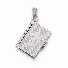 14K White Gold Bible Book Cross Cover Pendant