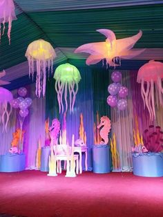 'The Little Mermaid' theme - perfect decor for maybe a marquee Little Mermaid Birthday, Little Mermaid Parties, The Little Mermaid, Under The Sea Theme, Under The Sea Party, Underwater Party, Neon Birthday, Holidays And Events, Party Themes