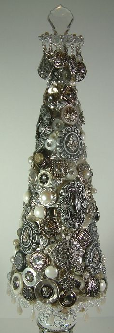 """Jeweled Tree Made From Paper Mache Cone - To see more of my art, download free images, and learn new techniques (like how to make this tree) checkout my Blog """"Artfully Musing"""" at http://artfullymusing.blogspot.com"""