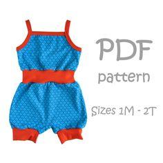 Miri Romper shorts PDF pattern  baby sewing by PlKidsApparel