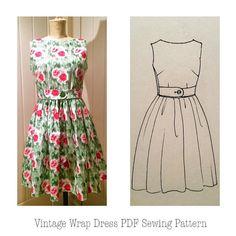 Women's vintage wrap dress PDF sewing pattern door GoldfinchandEagle