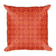 CHINESE GEOMETRIC PATTERN (RED, ORANGE) PILLOW