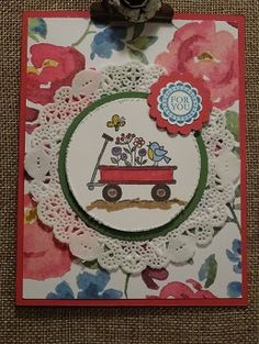 Card using the retiring Stampin' Up sets For the Birds and Round Array.  visit www.stamponwithheart.blogspot.com