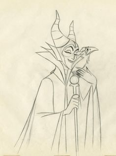 """Concept art of Maleficent from Disney's """"Sleeping Beauty"""" Sleeping Beauty 1959, Sleeping Beauty Maleficent, Disney Sleeping Beauty, Disney Kunst, Disney Art, Disney Movies, Disney Stuff, Animation Sketches, Cartoon Sketches"""