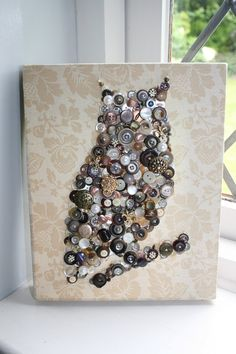 Vintage owl I made. Please contact me if you are intered in ordering a button canvas