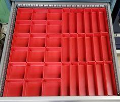 "37 PC Red Plastic Box Assortment 1"" Deep / Four (4) SIZES - Schaller Corporation Tool Drawer Organizer, Drawer Dividers, Drawer Organisers, Garage Tool Organization, Organization Ideas, Plastic Tool Box, Tool Drawers, Deep, Storage Bins"