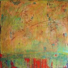 """Debra Corbett - Fade to Spring, 24"""" x 24"""" acrylic paint, glazes, powdered pigment, collage, plaster, handmade papers and graphite"""