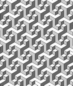 Tessellation is the process of creating a two-dimensional plane using the repetition of a geometric shape with no overlaps and no gaps. Geometric Patterns, Geometric Designs, Textures Patterns, Geometric Shapes, Escher Kunst, Escher Art, Mc Escher, Optical Illusion Quilts, Optical Illusions
