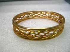 "Vintage Gold Tone Woven Bangle Bracelet, 8"", 1970's, 1/2"" wide, Post Mid-Century #Unsigned #bangle"