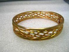 "Vintage Gold Tone Woven Bangle Bracelet, 8"", 1970's, 1/2"" wide, Post Mid-Century #Unsigned #bangle"