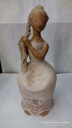 Kovács Margit: Haját fonó lány Paper Clay Art, Lany, Buddha, Monogram, Statue, Sculptures, Monograms, Sculpture
