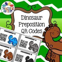QR Code Task Card, Activity, Dinosaur Prepositions, Positions