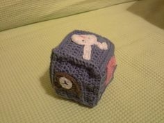 Baby cube toy with animals and numbers...handmade crochet