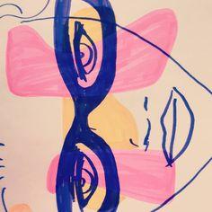 #doodle #doodling #portrait #drawing #linedrawing #color #pink #yellow #purple #face #art #decorative #shades #summer #play #patterns Pink Yellow, Purple, Face Art, Lululemon Logo, Line Drawing, Doodles, My Arts, Shades, Portrait