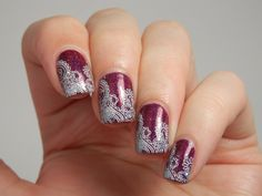 Potion Polish Very Merry with water decals and KBShimmer I Only Have Ice For You