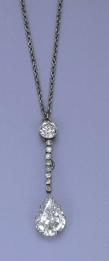 A BELLE EPOQUE DIAMOND PENDANT NECKLACE The pear-shaped diamond weighing 5.30 carats suspended from the circular-cut diamond line and diamond collet surmount to the fine-link chain, circa 1910, pendant 4.4 cm. long, chain 59.1 cm. long