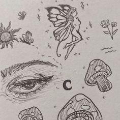 Indie Drawings, Sketchbook Drawings, Art Drawings Sketches Simple, Cool Drawings, Drawing Ideas, Pretty Drawings, Pencil Art Drawings, Creative Sketches, Arte Grunge