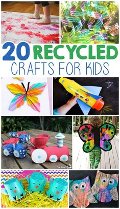 20 Kids Crafts From Recycled Materials Recycled Bottle Crafts, Crafts From Recycled Materials, Recycled Crafts Kids, Recycled Art, Diy Crafts For Kids, Home Crafts, Arts And Crafts, Suncatcher, Diy Organization