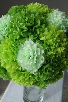 Apple Green Paper Flower Bouquet - Looks like Hydrangia!