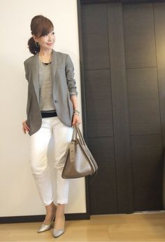 Japan Fashion Casual, Office Fashion, Work Fashion, Daily Fashion, Street Fashion, Casual Interview Attire, Business Casual Attire, Interview Outfits, Business Fashion Professional