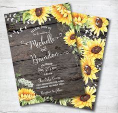 Bright sunflowers in intricate watercolor and faux wood background set off a rustic wedding. Signature Watercolor Collection by Posh Paper.