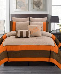 8 pc orange and brown reversible full size bedding